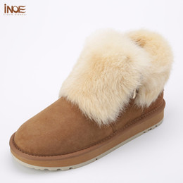 Wholesale Girls Shoes Rabbit - INOE fashion real sheepskin leather suede fur lined women rabbit fur winter short ankle snow boots for girls zipper winter shoes