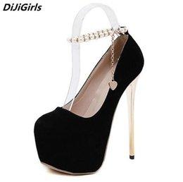 Wholesale Beaded Platform Heels - DiJiGirls Extreme heels women ankle Pearl beaded High platform stilettos Shallow solid high heels autumn shoes woman pumps size us4-9 black