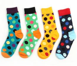 Chaussettes coréennes marque en Ligne-Marque de marée de haute qualité Happy Socks Concepteur rond coréen Point de vague japonais College College vent Hommes et femmes 100% coton Long Tube Chaussettes