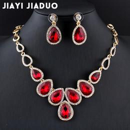 2019 jóia presente de ouro rosa 24k Todo salejiayijiaduo conjunto de Jóias africano quente de ouro-cor cystal conjunto de colar e brincos para as mulheres jóias de casamento de cristal Vermelho