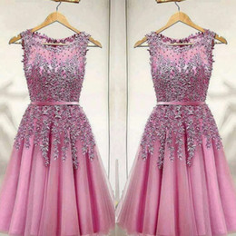 Wholesale blue homecoming dresses straps - Pink Short Party Dress Lace Appliques Beads Homecoming Dresses 2018 Mini Party Gowns Cheap Prom Cocktail Formal Wear Vestidos