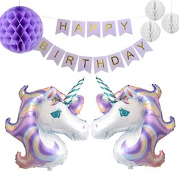 2019 forme di lanterna di carta Cartoon Shape Balloons Palle a nido d'ape Buon compleanno Letters Banner Set per Birthday Party Party Pull Flag Lanterne di carta Puntelli sconti forme di lanterna di carta