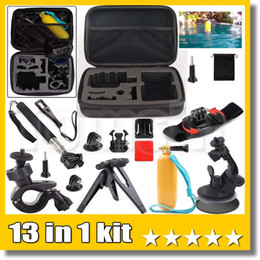 Wholesale materials handling - 13 in 1 kit Action Cam Accessories M Size Carry Bag Floating Handle Grip Pole Wrist Mount For Sport Camera H9   H9R