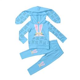 Deutschland Reizendes Kleinkind scherzt Baby-lange Hülsen-Häschen-Ohr-mit Kapuze Oberseiten-lange Hose 2PCS Outfits Autumn Clothes Set cheap kids tops bunnies Versorgung