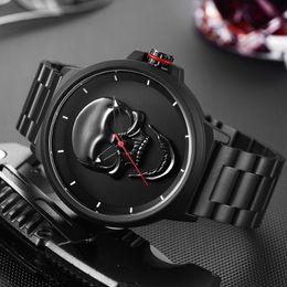 de8360bd046 Assista Masculino Design Exclusivo Crânio Relógios Das Mulheres Dos Homens  de Luxo Da Marca de Quartzo Esportes de Aço Militar Relógio De Pulso Dos  Homens ...