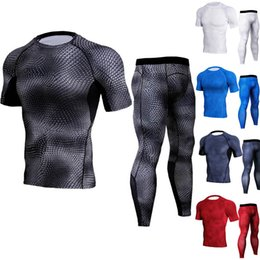 Wholesale Quick Shapes - men fitness tight t Shirts Compression snake shape T-shirt and pants Breathable quick Dry exercise Fitness Wear Long Sleeve gym clothing