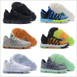 5c2d99c3efef 2018 New KD 10 EP Basketball Shoes Top Quality Kevin Durant X Men 10S  Rainbow Wolf Grey KD10 FMVP Athletic Sport Sneakers 7-12 on sale