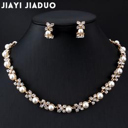Wholesale Pearl Jade Flower Earrings - whole salejiayijiaduo Imitation pearl jewelry set for wedding For women dress accessories Necklace earrings set Gold color Flower gift
