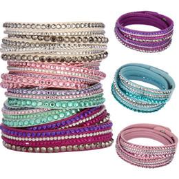 Venta caliente de moda coreana de cuero de la PU de múltiples capas Rhinestones Crystal Wrap pulsera para mujeres hombres joyas brazaletes de regalo desde fabricantes