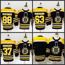 Youth Kids Boston Bruins  73 Charlie McAvoy 37 Patrice Bergeron 88 David  Pastrna 63 Marchand Pastrnak Chara Hockey Jerseys Stitched 82c200c71