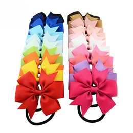 Wholesale Fabric Ponytail Holders - 20Pcs Lot Ribbon Bow Elastic Hair Bands Rope Ponytail Holder Kids fabric flowers Newborn Girls Hair Accessories