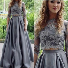 Wholesale Two Piece Evening Wear Tops - 2018 Gray Prom Dresses Two Piece Jewel Neck Lace Applique Top Three Quarter Sleeves Satin Formal Party Wear Evening Gowns Homecoming Wear