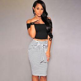 99bbfd312f6 Fashion Casual Pencil Midi Women Skirt 2018 Striped Bodycon Autumn Summer  Spring Slim High Waist Skirt Black   White Plus Size