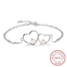 Canada bracelet de conception en opale synthétique de haute qualité en argent sterling avec coeur en gros de la fabrique de bijoux en argent Chine BA102111 Offre