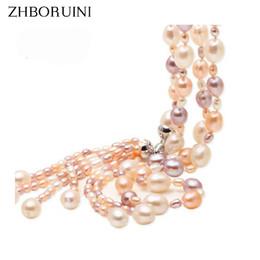 86942239f991 Moda largo collar de perlas de múltiples capas collar de perlas de agua  dulce borla color de la mezcla 925 joyería de plata para las mujeres regalo  collar ...