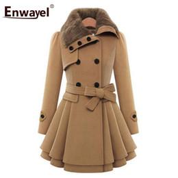 ENWAYEL  2018 Fashion Casual Winter Warm Fur Trench Coats For Women Outerwear Female Double Breasted Thick Coat Femme 9004 от Поставщики блеск кроссовки для мужчин