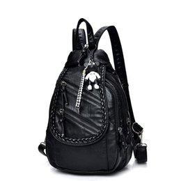 Wholesale leather canvas rucksack - New Women Backpack High Quality Soft PU Leather School Bags For Teenagers Girls Backpacks Fashion Travel Rucksack Mochila