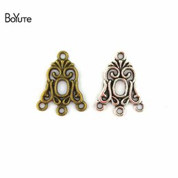 Wholesale Diy Earring Connectors - BoYuTe (100 Pieces Lot) 24*19MM Zinc Alloy Connector Charms Antique Bronze Silver Plated Pendant Diy Bracelets Earring Jewelry Accessories