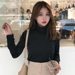 Футболка с длинными рукавами онлайн-Fashion Striped T Shirt Women Turtleneck Long Sleeve Tshirt Autumn Casual Loose Solid Tee Shirt Female Tops Shirts