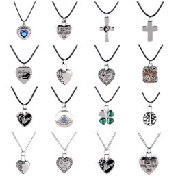 Зольник онлайн-Fashion jewelry silver plated crystal Heart Cross pendant Cremation ash necklace Memorial gift for women Men