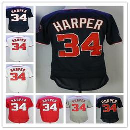 Wholesale Cheap Ship - Cheap men's 34 Bryce Harper jersey Red Blue White Gray Jerseys Stitched Baseball Jerseys wholesale Free Shipping