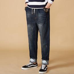 Wholesale Denim Fat Pants - Men Trendy Jeans 2018 Spring Men's Big Size M-8XL Fat Loose Large for Man Trend Jeans Casual Ripped Blue Black Male Denim Pants