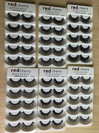 pestanas falsas aladas Desconto CEREJA VERMELHA Cílios Postiços Natural Longo Eye Lashes Extensão Maquiagem Profissional Cílios Faux Winged Falso Cílios Wispies