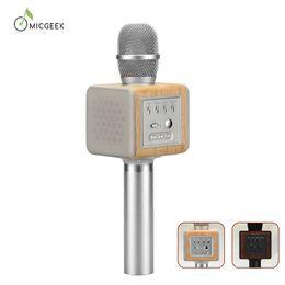 Wholesale Chip Speaker - Original brand MicGeek ELF Wireless Karaoke Microphone 2.1 Sound Track Natural Rosewood DSP Chip Voice Speakers Smartphone
