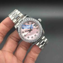 2019 водостойкие цветные женские часы Роскошные часы DateJust часы Diamond Mark розовый Shell циферблат женщины из нержавеющей часы дамы автоматические наручные часы лучший подарок Валентина 32 мм