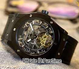 Wholesale Mens Big Case Watches - Brand New Steel Case Skeleton Dial Asian 2813 Automatic Big Tourbillon Mens Watch Black Rubber Sports Watches Black PVD 7 Styles HB215a1