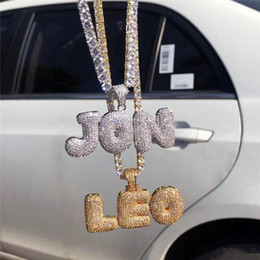 Wholesale initial diamond pendants - Hip Hop Custom Name Bubble Letters Necklace Iced Out Bling Gold Silver Plated Diamond with Tennis Chain Birthday Gifts Jewelry For Men Women