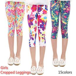 Wholesale Girls Floral Leggings - 3 4 Length Girls Leggings Floral Print Silky Sport Yoga Pants Summer Girls Pants Children Skinny Pants Kids Clothing Baby Girl Clothes