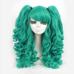 Парик для волос lolita ponytail онлайн-Лолита Зеленый Вьющиеся Клип Хвост Косплей Парик Волос