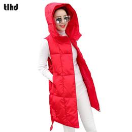 Giacca con cappuccio donna xl online-TLHD Women Winter Vest Gilet Womens Long Vest Gilet senza maniche con cappuccio in cotone caldo cappotto femminile causale