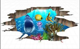 tubarão de vinil Desconto Piso mural papel de parede HD 3D world ocean shark chão pintura piso de vinil banheiro
