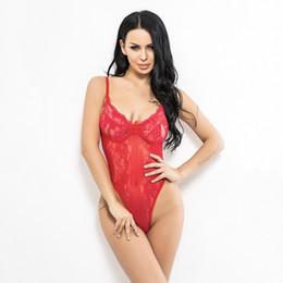 Biancheria intima bianca online-Sexy Lace Plunge Bra Perizoma Body Hot Lingerie Teddy Intimo Donna Bralette Reggiseno Reggiseno Mutandine Rosso Bianco Nero
