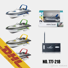 Wholesale Toy Boat Wholesale - 24pcs lot Mini RC Boat Racing Speedboat 4CH Radio Remote Control Boats Toys for Kids Christmas Gift