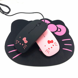 Usb ciao online-Pink Hello Kitty USB Wired Cable Mouse Mouse Lovely Cartoon Mouse 1200DPI Mouse ottico KT Cat per computer PC Laptop