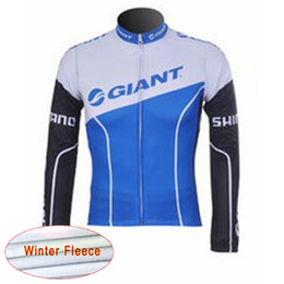 Wholesale Giant Cycling Thermal Clothing - GIANT team Cycling Winter Thermal Fleece jersey Cycling Jerseys long Sleeve quick dry Bicycle clothing c1909