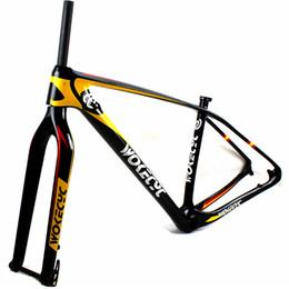 Wholesale Mtb 29er Frame - MTB carbon frame 29er come with front fork 100*15mm bike frameset 142x12 rear thru axle carbon bicycle mountain frame compatible 135x9