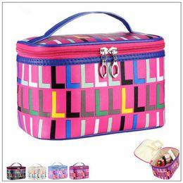 Wholesale Large Mirrors Wholesale - 4 Colors Travel Large Capacity Makeup Bag Women PU Cosmetics Bin Printing Letters Makeup Box Travel Cosmetic Bags CCA9124 50pcs