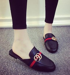 Wholesale breathable slippers women - Wholesale-Women's Fashion Summer Slipper Designer Breathable Half Loafters Casual Flat Shoes Ladies PU Leather Sandals sandalias mujer shoes