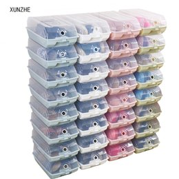 plastic shoeboxes Promo Codes - XUNZHE 1Pcs 37*22*13cm Thicken Transparent Plastic Stackable Sundries Container Foldable Storage Case Flip Home Use Shoebox