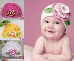 Wholesale Big Flower Hats - Cute big flower baby kids infant toddler girl warm beanie knit hat cap Newborn Photography Props Accessories 6 colors