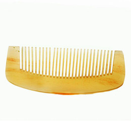 Wholesale natural horn hair comb - Good quality Natural Amber Ox Horn Comb of Hair No Static Health Care Hair Brush Hairdressing Comb Beauty Essentials Makeup