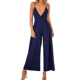 f87a9a960ea9 Women Summer Jumpsuit Solid Deep V Neck Backless Wide Leg Jumpsuit Bow Tie  Back Sexy Jumpsuits Romper  BF