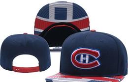 Gorritas tejidas blancas rojas online-Montreal Canadiens Hockey sobre hielo Tejer gorros Bordado Sombrero ajustable Gorros bordados bordados Snapback Sombreros cosidos azul blanco