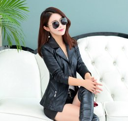Wholesale Korean Slim Leather Jacket - 2018 Spring and Autumn new Korean leather short jacket female code jacket motorcycle jacket 605