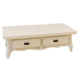 Argentina KEOL-Dollhouse miniatura madera blanca oblonga mesa de café con 4 cajones muebles de sala de estar 12ma escala supplier white oblong Suministro