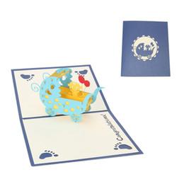 2019 kirigami conçu des cartes pop up Vintage 3D Pop Up Origami papier découpé au laser cartes de voeux Baby Carriages Design anniversaire cartes postales DIY Kirigami carte d'invitation promotion kirigami conçu des cartes pop up